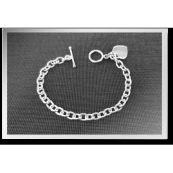 Oval Link Heart Bracelet
